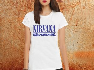Camiseta feminina baby look Nirvana Nevermind branca Estamparia Rock na Veia