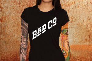 Camiseta feminina baby look Bad Company logo preta Estamparia Rock na Veia