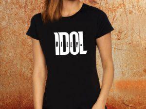 Camiseta feminina baby look Billy Idol preta Estamparia Rock na Veia