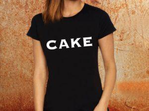 Camiseta feminina baby look Cake preta Estamparia Rock na Veia