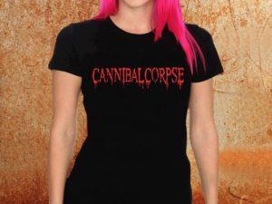 Camiseta feminina baby look Cannibal corpse preta Estamparia Rock na Veia