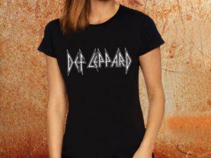 Camiseta feminina baby look Def Leppard preta Estamparia Rock na Veia