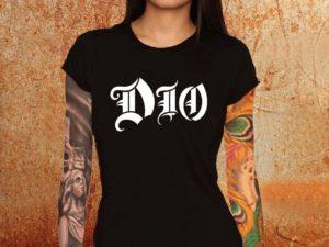 Camiseta feminina baby look Dio preta Estamparia Rock na Veia
