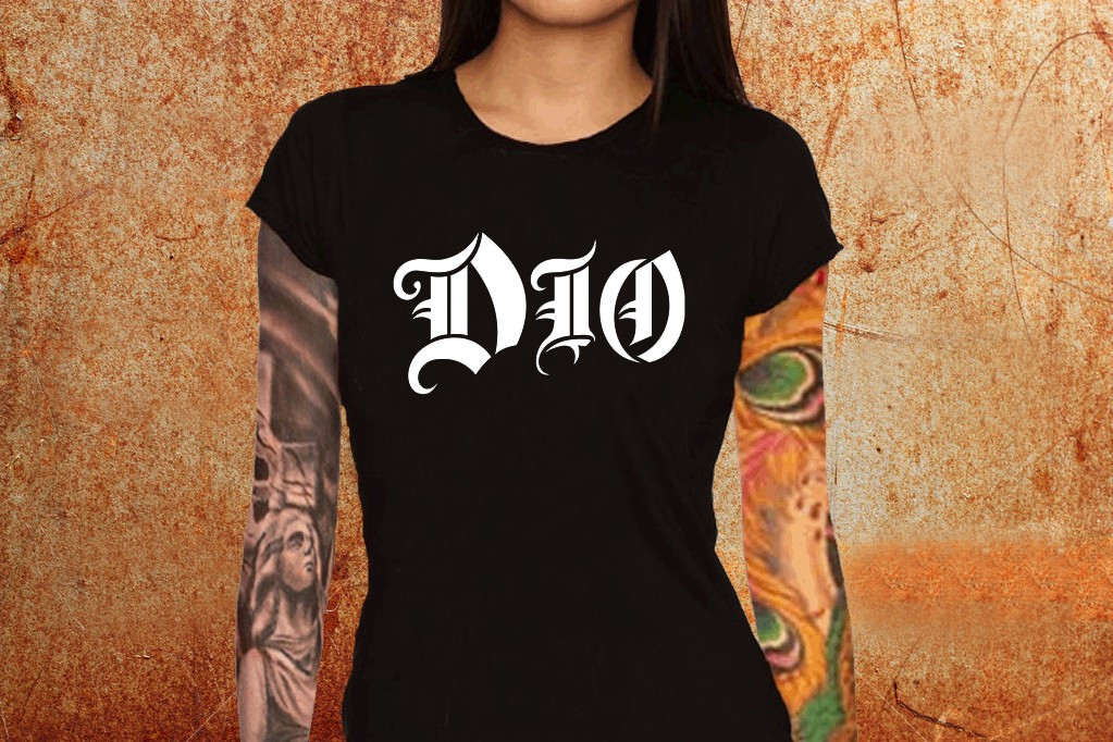 adc55a5ab Camiseta feminina baby look Dio preta Estamparia Rock na Veia