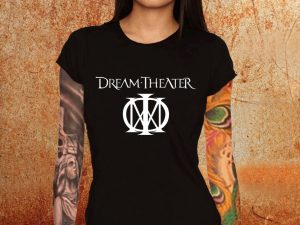 Camiseta feminina baby look Dream Theater preta Estamparia Rock na Veia