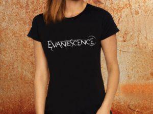 Camiseta feminina baby look Evanescence preta Estamparia Rock na Veia