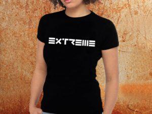 Camiseta feminina baby look Extreme preta Estamparia Rock na Veia