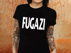 Camiseta feminina baby look Fugazi preta Estamparia Rock na Veia