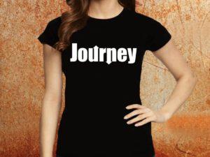 Camiseta feminina baby look Journey preta Estamparia Rock na Veia