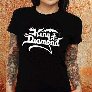 Camiseta feminina baby look King Diamond preta Estamparia Rock na Veia