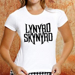 Camiseta feminina baby look Lynyrd Skynyrd branca Estamparia Rock na Veia