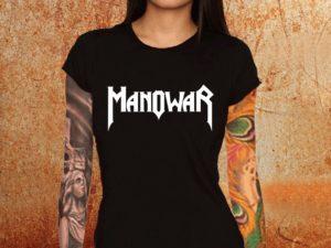 Camiseta feminina baby look Manowar preta Estamparia Rock na Veia