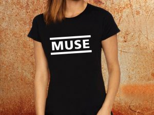 Camiseta feminina baby look Muse preta Estamparia Rock na Veia