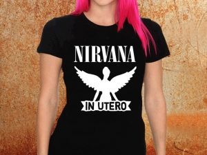 Camiseta feminina baby look Nirvana In Utero preta Estamparia Rock na Veia
