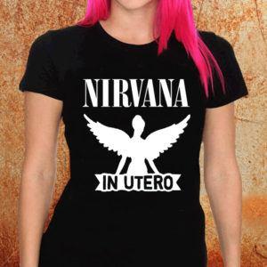 Camiseta feminina baby look Nirvana In Utero preta Estamparia Rock na Veia
