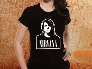 Camiseta feminina baby look Nirvana kurt Cobain preta Estamparia Rock na Veia