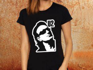 Camiseta feminina baby look U2 Bono preta Estamparia Rock na Veia