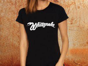 Camiseta feminina baby look Whitesnake preta Estamparia Rock na Veia