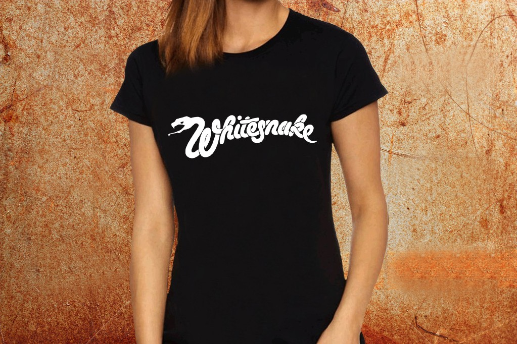 e2e392f41 Camiseta feminina baby look Whitesnake preta Estamparia Rock na Veia