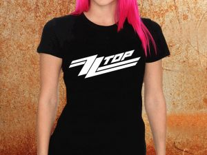 Camiseta feminina baby look ZZ Top preta Estamparia Rock na Veia