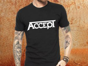 Camiseta masculina Accept preta Estamparia Rock na Veia