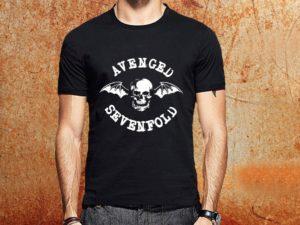 Camiseta masculina Avenged Sevenfold preta Estamparia Rock na Veia