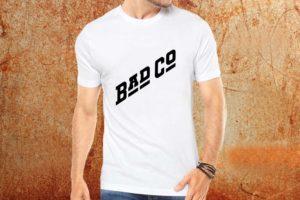 Camiseta masculina Bad Company branca Estamparia Rock na Veia