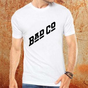 Camiseta masculina Bad Company branca Estamparia Rock na Veia