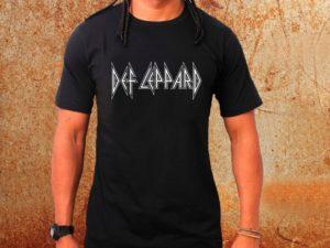 Camiseta masculina Def Leppard preta Estamparia Rock na Veia