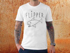 Camiseta masculina Flipper Kurt Cobain branca Estamparia rock na Veia