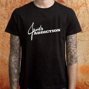 Camiseta masculina Janes Addiction preta Estamparia Rock na Veia