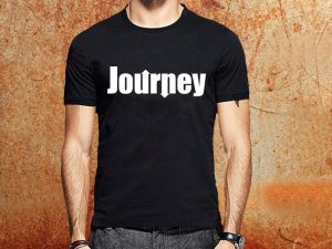 Camiseta masculina Journey preta Estamparia Rock na Veia