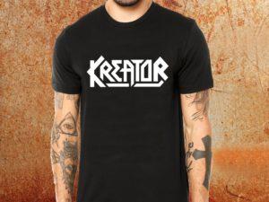 Camiseta masculina Kreator preta Estamparia Rock na Veia