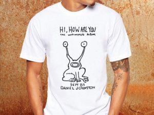 Camiseta masculina Kurt Cobain Daniel Johnston hi how are you branca Estamparia Rock na Veia