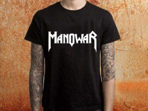 Camiseta masculina Manowar preta Estamparia Rock na Veia