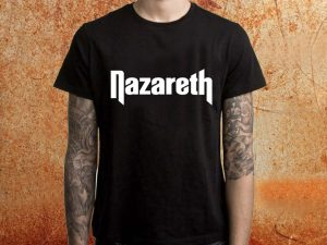 Camiseta masculina Narazeth preta Estamparia Rock na Veia