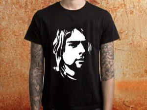 Camiseta masculina Nirvana Kurt Cobain preta Estamparia Rock na Veia