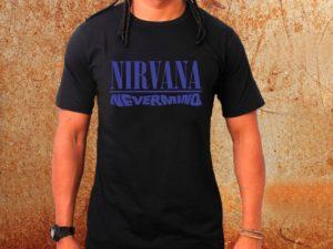 Camiseta masculina Nirvana Nevermind preta Estamparia Rock na Veia