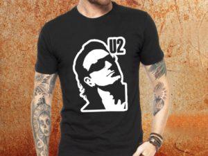 Camiseta masculina U2 Bono preta Estamparia Rock na Veia