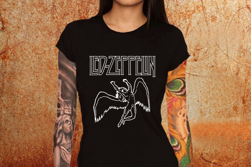 Camiseta feminina baby look Led Zeppelin (versão 2) - ESTAMPARIA ... 99c8eeaf33c